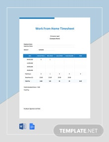 Free Coronavirus Work From Home Timesheet Template