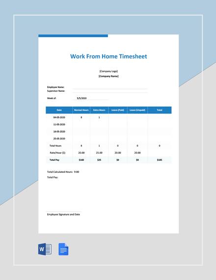 Free Coronavirus Work From Home Timesheet Template