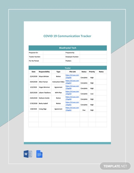 Coronavirus COVID-19 Communication Tracker Template