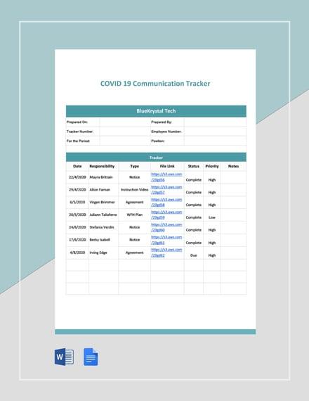 Coronavirus COVID-19 Communication Tracker Template