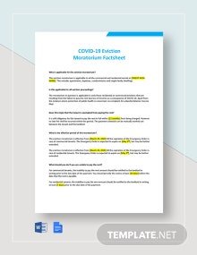 Coronavirus COVID-19 Eviction Moratorium Factsheet Template