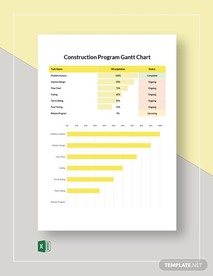 Construction Program Gantt Chart Template