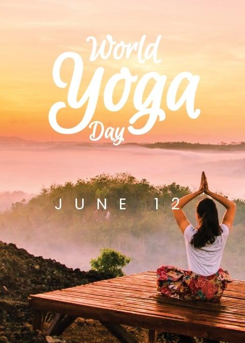 Free World Yoga Day Greeting Card Template.jpe
