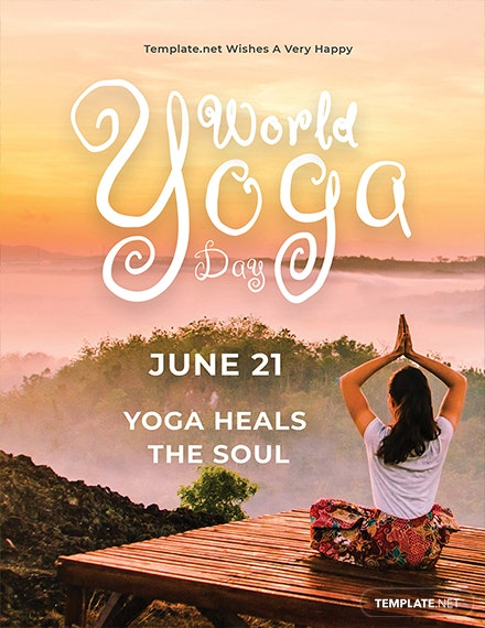 Free World Yoga Day Greeting Card Template