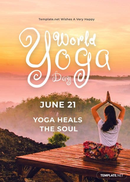 World Yoga Day Greeting Card Template