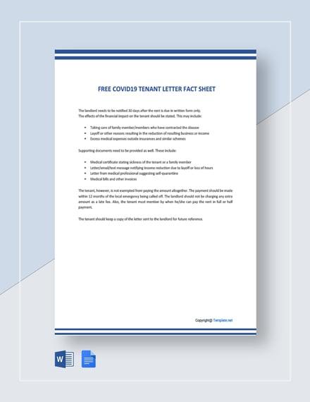 Free Coronavirus COVID19 Tenant Letter Fact Sheet Template