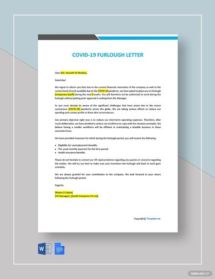 Free Coronavirus COVID-19 Furlough Letter Template