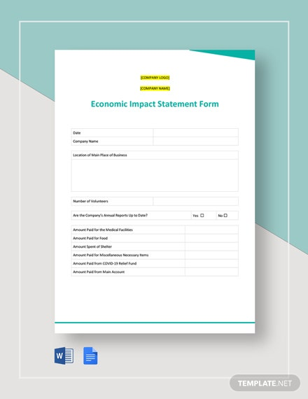 Free Coronavirus Economic Impact Statement Form Template