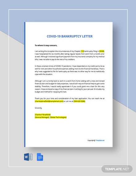 COVID Bankruptcy Letter