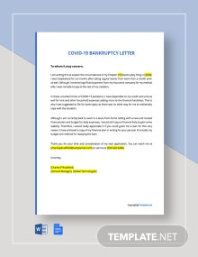 Coronavirus COVID-19 Bankruptcy Letter Template