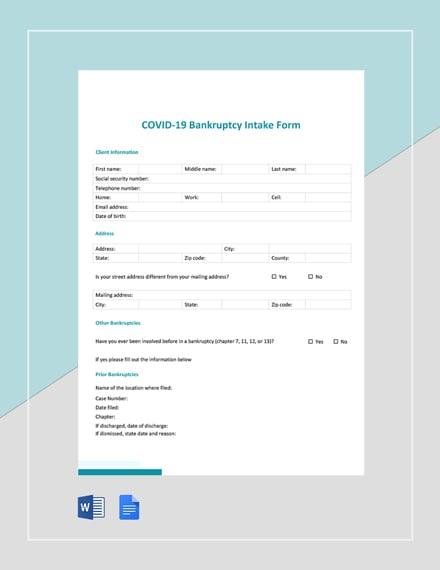 Coronavirus COVID-19 Bankruptcy Intake Form Template