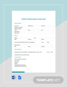 Coronavirus COVID-19 Bankruptcy Intake Form Template