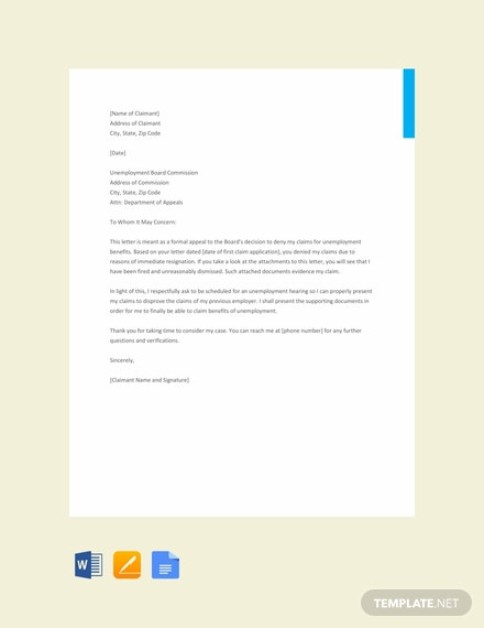 Free Appeal Letter Format