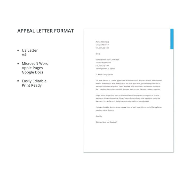 appeal letter format details