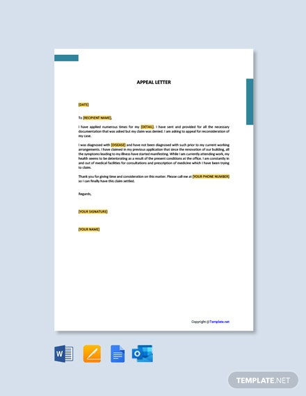 Free Appeal Letter Template