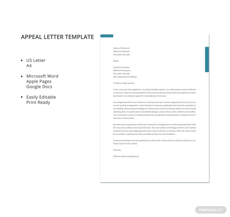 Appeal letter templates 11 free word pdf documents download appeal letter template details altavistaventures Gallery