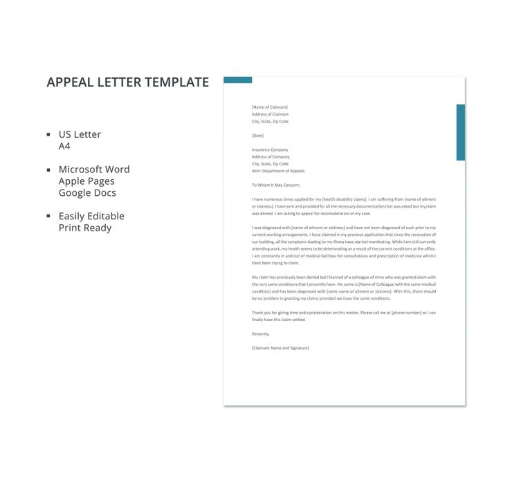 11 appeal letter templates pdf doc free premium templates appeal letter 740x698 spiritdancerdesigns Images