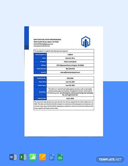Real Estate Agency Quotation Template