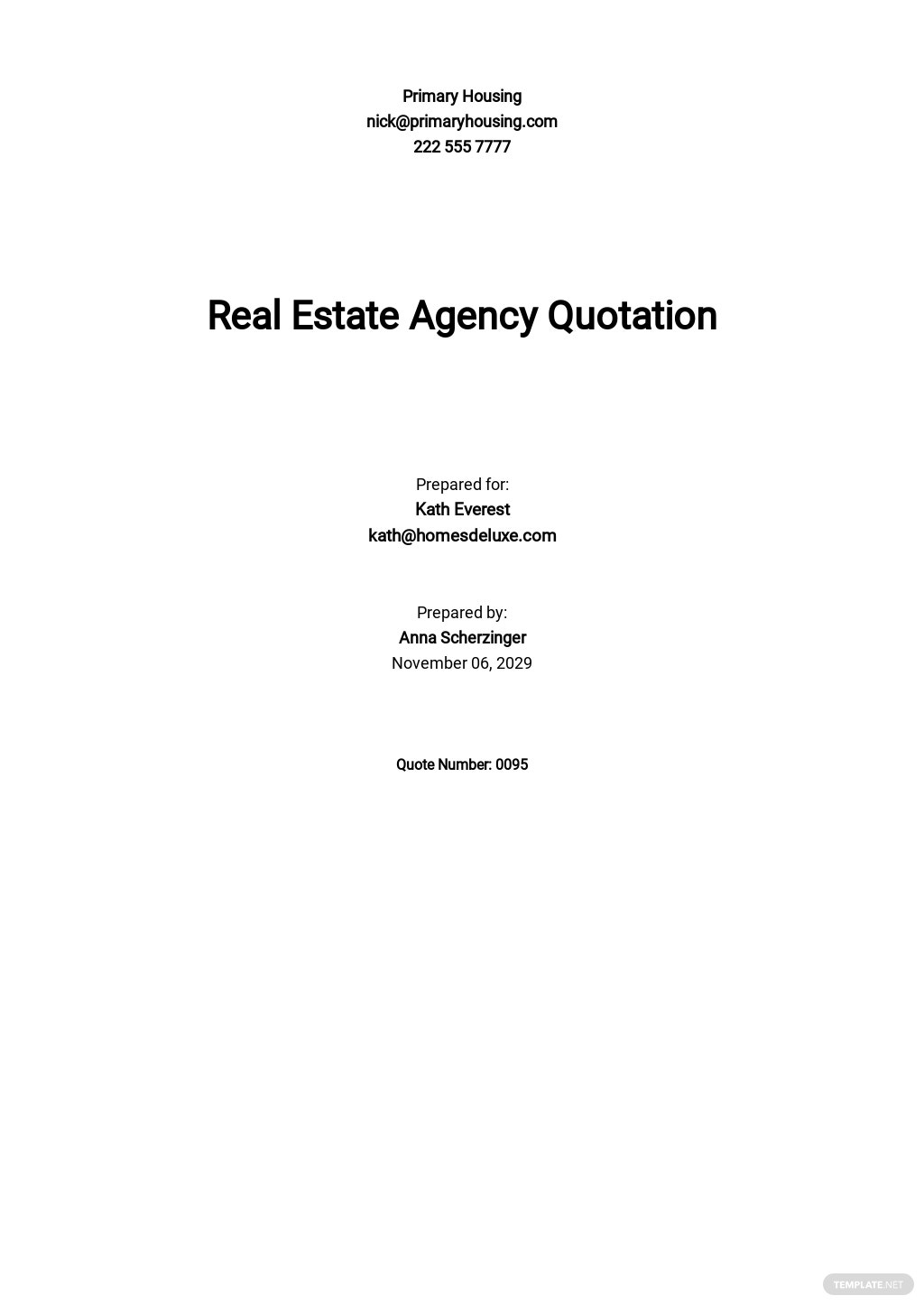 Real Estate Agency Quotation Template [Free PDF] - Google Docs, Google Sheets, Excel, Word