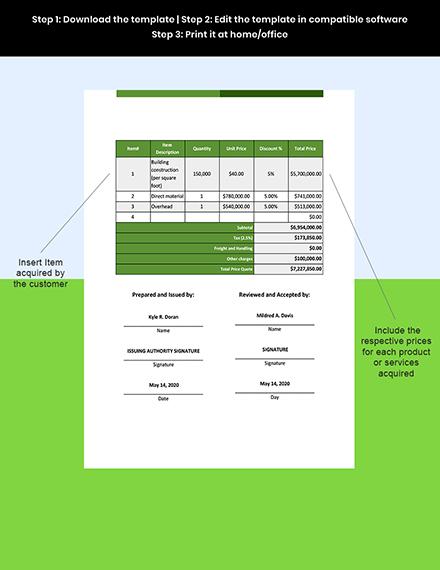 Real Estate Builder Quotation Instruction