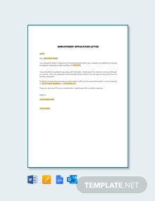 Free Employment Application Letter Template