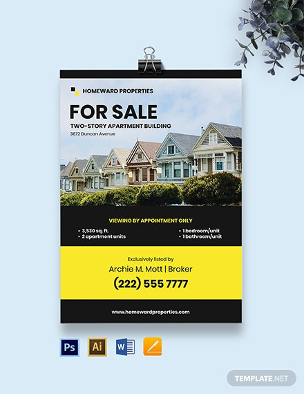 Free Professional Real Estate Agent Yard Sign Template
