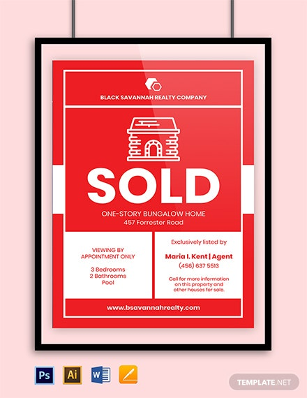 Real Estate Sold Sign Template