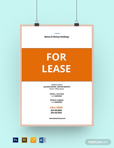 Real Estate For Lease Sign Template