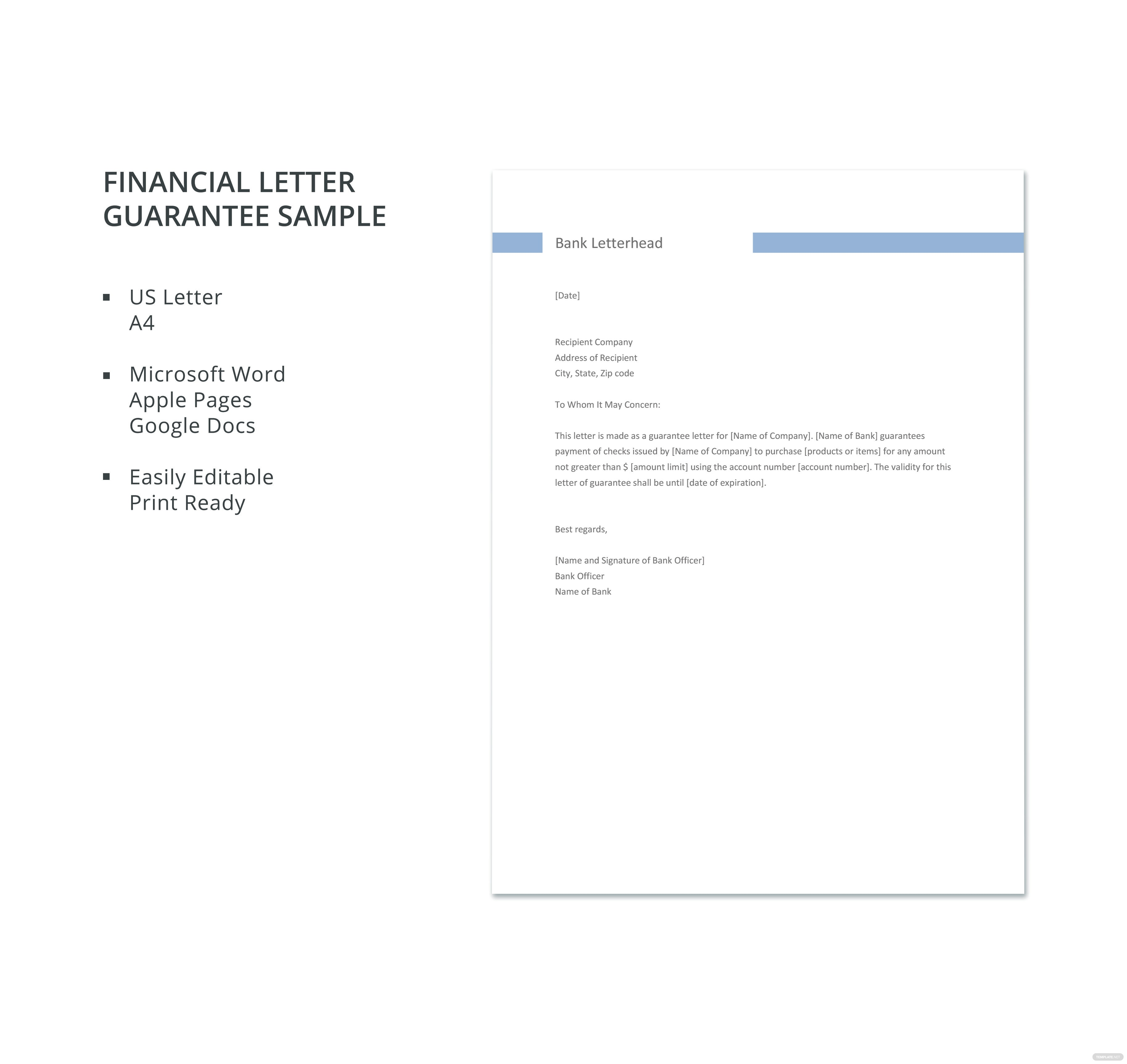 Financial letter guarantee sample template in microsoft word apple click to see full template financial letter guarantee sample altavistaventures Images
