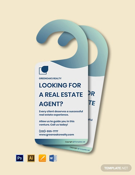 Free Modern Real Estate Door Hanger Template