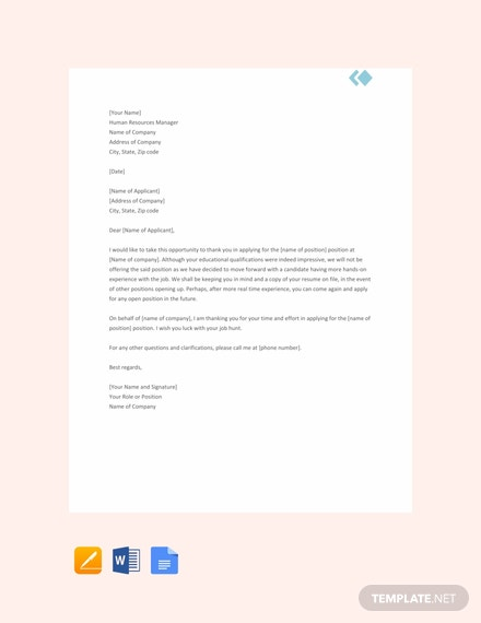 Free Employment Rejection Letter Template