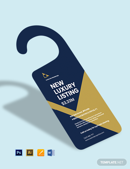 Luxury Real Estate Door Hanger Template