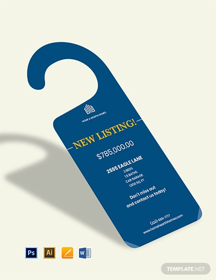 Real Estate Listed Door Hanger Template
