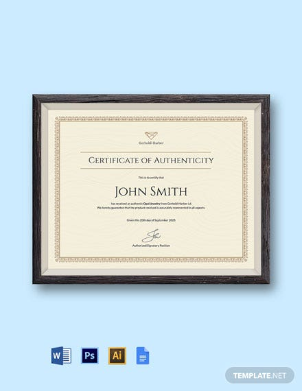 Authenticity Certificate Template
