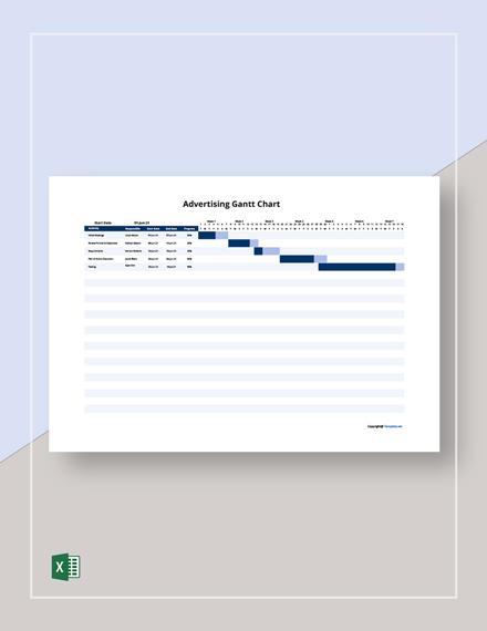 Free Sample Advertising Gantt Chart Template