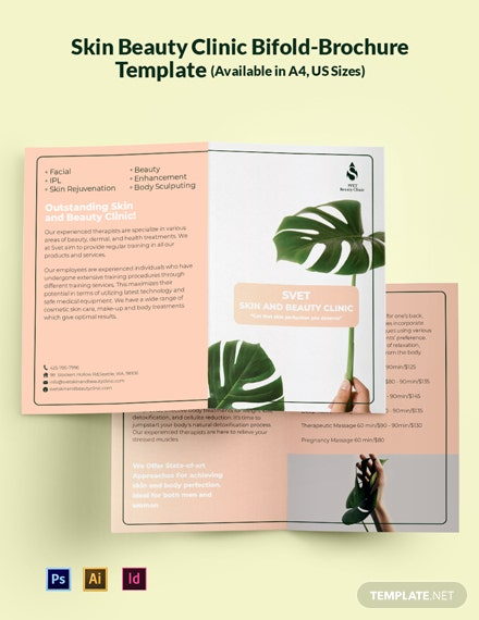 Skin Beauty Clinic Bi-Fold Brochure Template