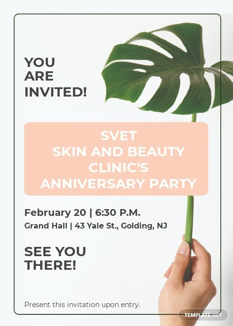 Skin Beauty Clinic Invitation Template