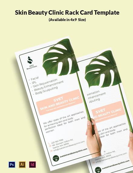 Skin Beauty Clinic Rack Card  Template