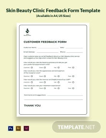 Skin Beauty Clinic Feedback Form Template