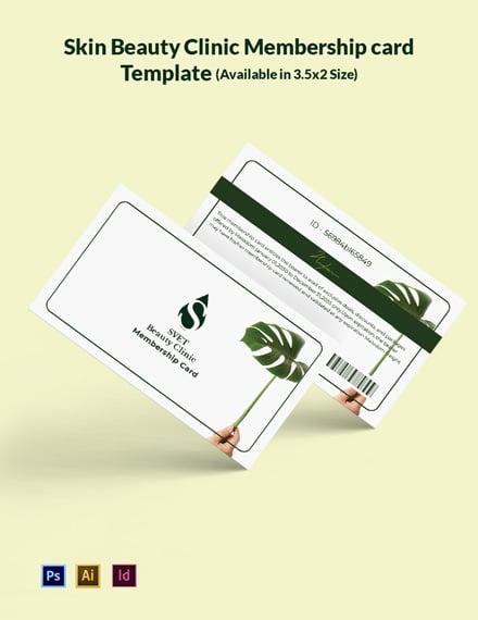 Skin Beauty Clinic Membership Card Template