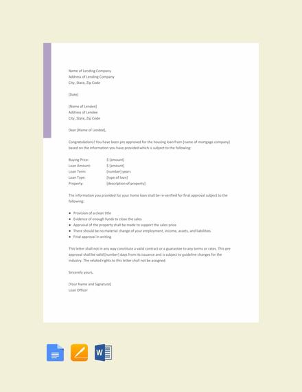 Free Pre Approval Letter Sample