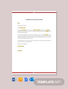 Free Internship Application Letter Template