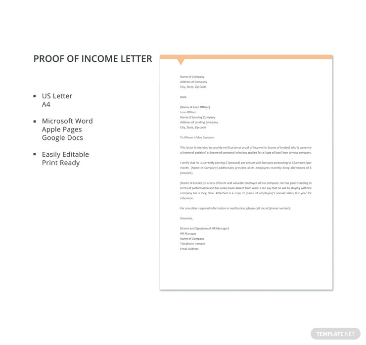 16+ Proof of Income Letters - PDF, DOC | Free & Premium