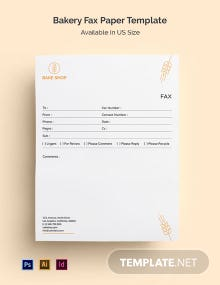 Bakery Fax Paper Template