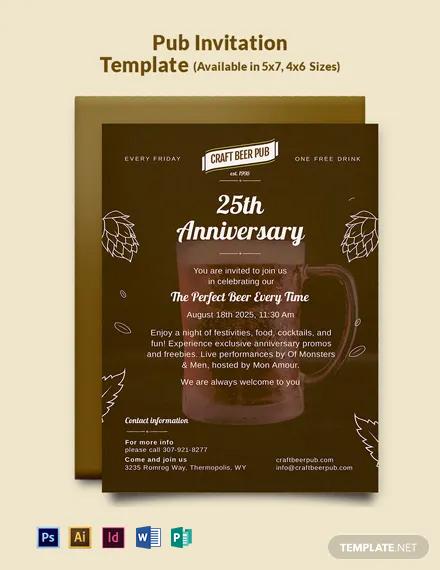 Free Pub Invitation Template