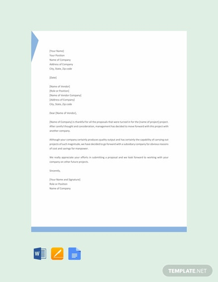Free Rejection Letter Template