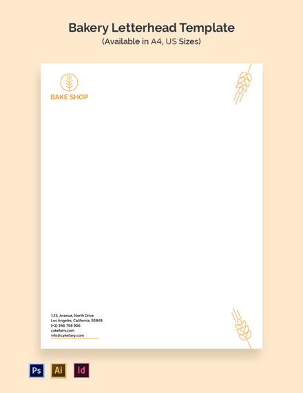 Bakery Business Letterhead Template