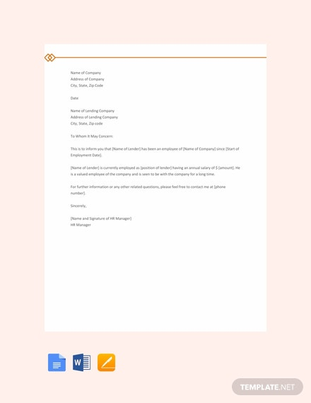 Free Salary Proof Letter