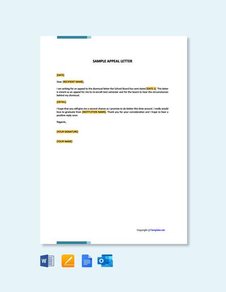 Free Sample Appeal Letter