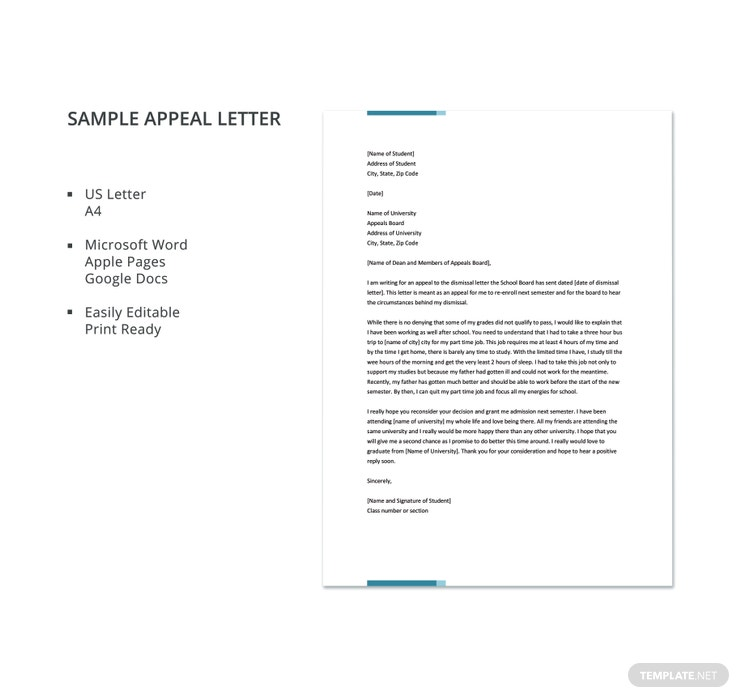 Appeal letter templates 11 free word pdf documents download sample appeal letter details spiritdancerdesigns Images